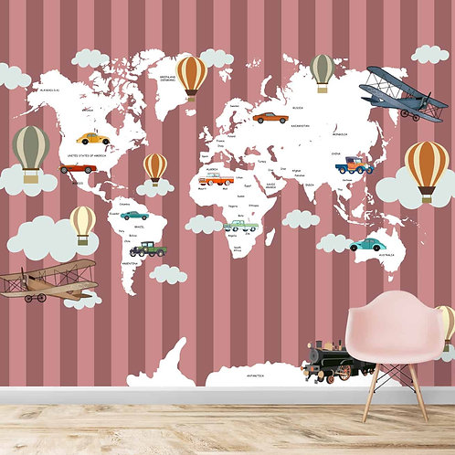 Colourful striped world map for kids room