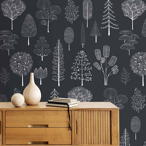 White Tree Sketch on Black Background, Premium Wallpaper
