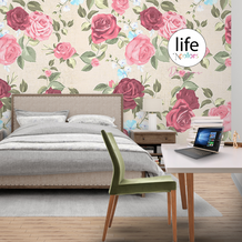 Hand painted look floral design wallpaper