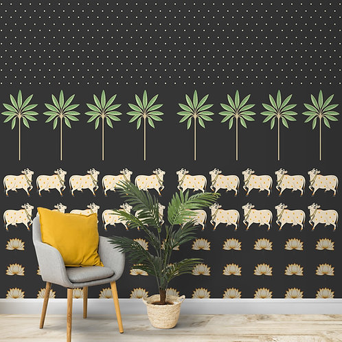 Pichwai Cow Painting Inspired Wallpaper for Walls, Customised
