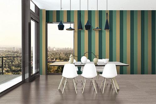 Green & Yellow Geometric Striped Wallpaper