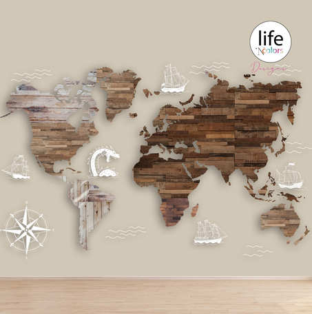 Wooden look world map for wallpapers for walls