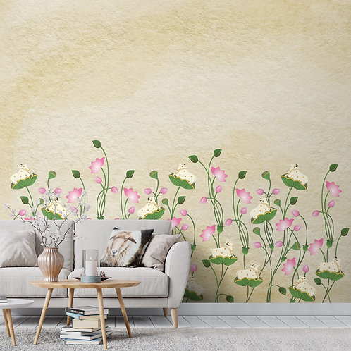 Pichwai Wallpaper, Lotus and Cows, Customised