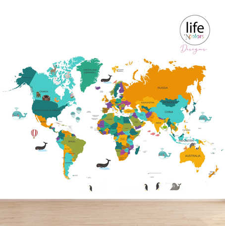 Colorful world map for wallpapers for walls