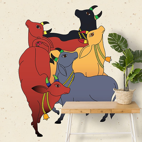 Colourful Cows in Pichwai Inspired Wallpaper for Rooms, Customised