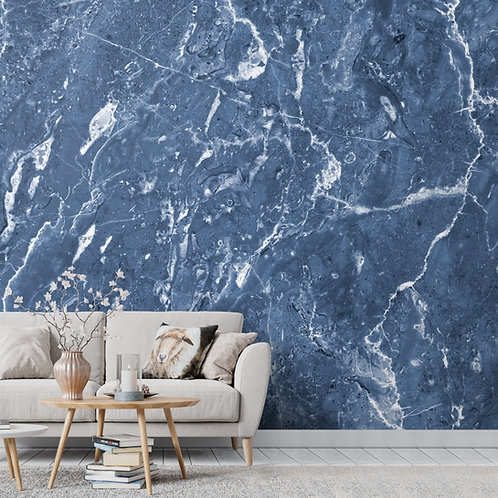 Natural Blue Marble Look Room Wallpaper, Customised