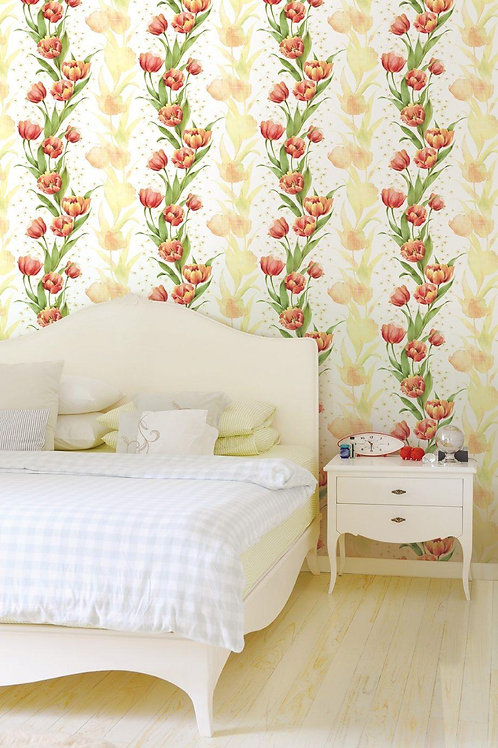 Floral print wallpaper for bedrooms
