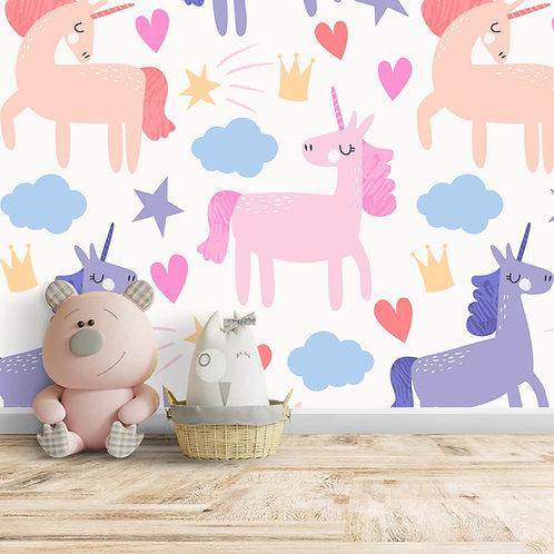 Girls Room Unicorn Wallpaper in Pastel Shades, Customised