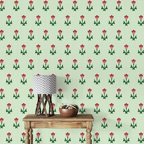 Royal Pattern, Green Wallpaper, India, Customised