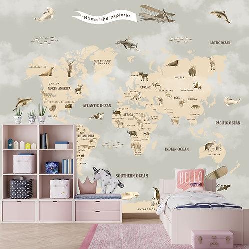 Pastel Premium Kids Room Full Wall World Map Wallpaper