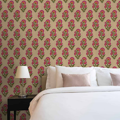 Indian Floral Theme Repeat Design Wallpaper, Luxury, Customised