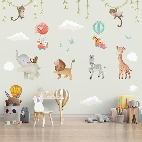 Cute Jungle Animals Wallpaper for Kids Room Nursery