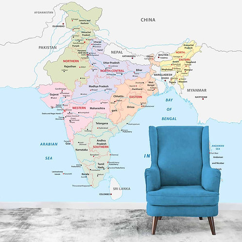 India Wall Size Map, Customised Wallpaper