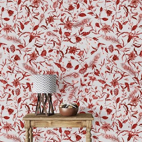 Red Colors Floral Elements Wallpaper Design, Customised