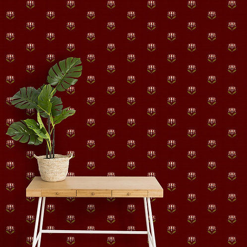Maroon Indian Print Wallpaper for Rooms, Customised