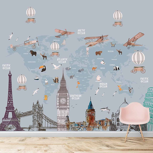 Kids World Map with Monuments, Customised Wallpaper