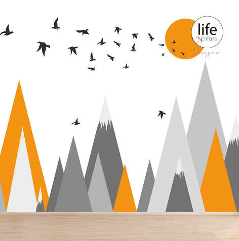 Orange and grey geometric mountains wallpapers for kids rooms