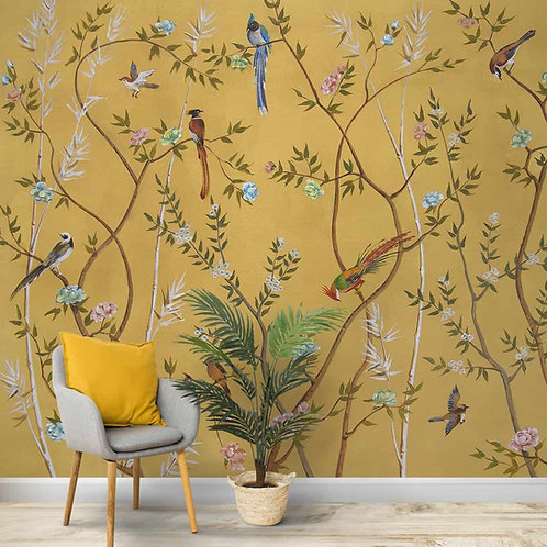 Chinoiserie Wallpaper with Flowers and Birds, Customised