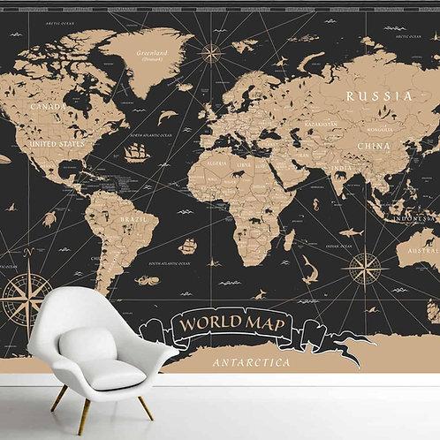 Black and Golden Vintage World Map Wallpaper, Customised