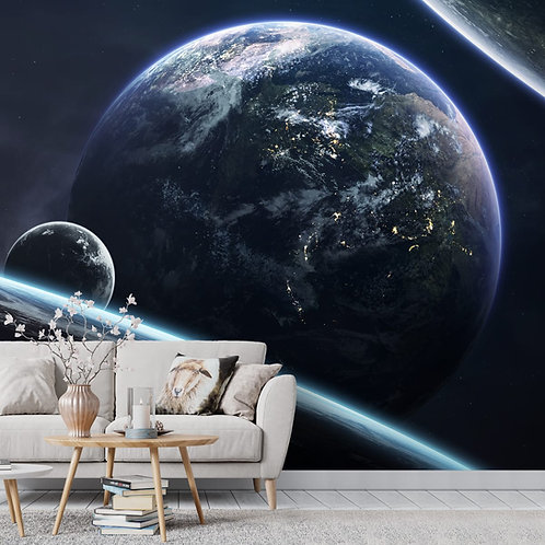 Earth and Moon Space Theme Wallpaper for Walls and Ceiling