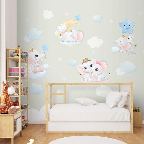 Cute Elephant Theme Kids Nursery Room Wallpaper