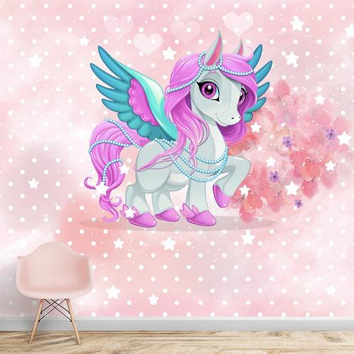 Cute unicorn wallpaper for girls room