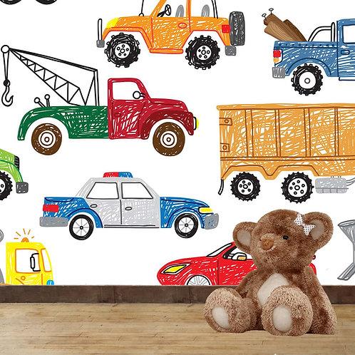 Cars, Bikes, Trucks Boys Room Wallpaper Design, Customised