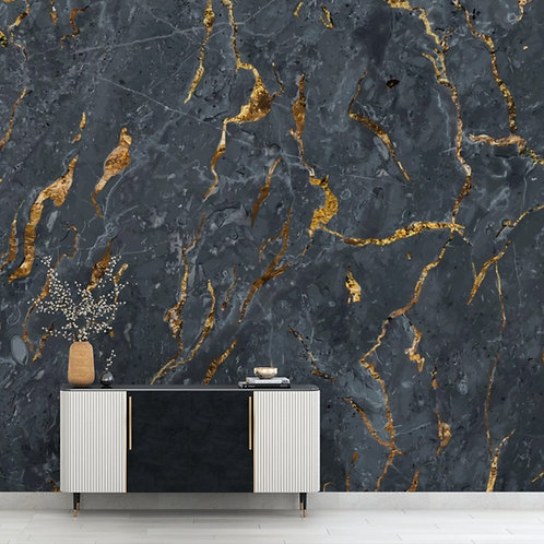 Black and Gold Marble Theme Wallpaper for Rooms
