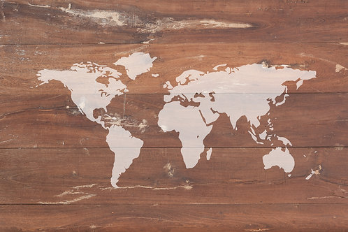 World map on wooden wallpaper