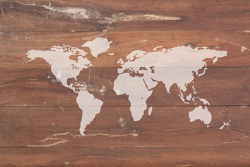 Vintage Wooden Look World Map Wallpaper