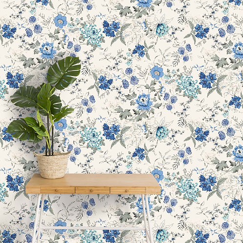 Blue Floral Pattern Wallpapers for Bedrooms and Living Rooms, Customised