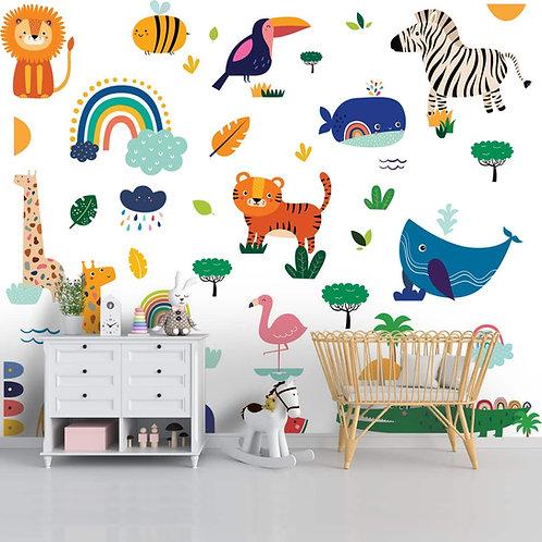 Cute Jungle and Ocean Animals Wallpaper, Customised