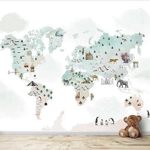 Pastel shade world map wallpaper