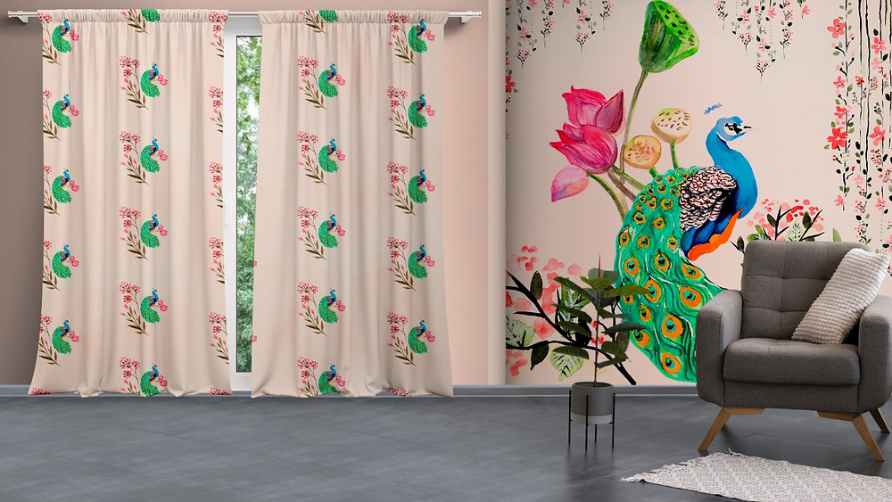 Peacock print customised wallpapers and curtains.jpeg