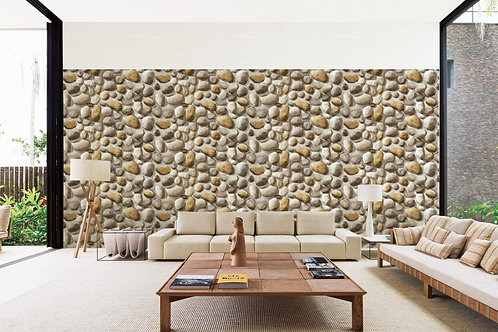 Round stone in cement look wallpaper