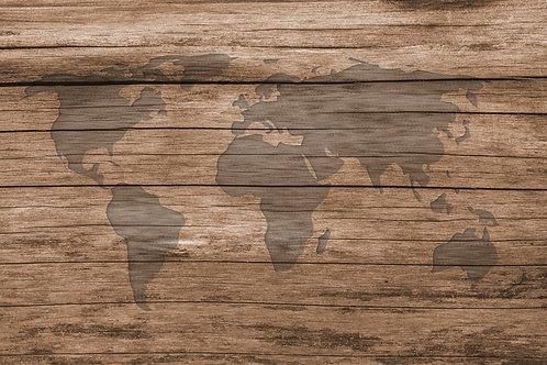 Vintage World map on wooden wallpaper