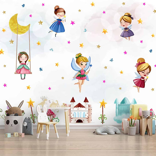 Fairies Theme Girls Room Wallpaper