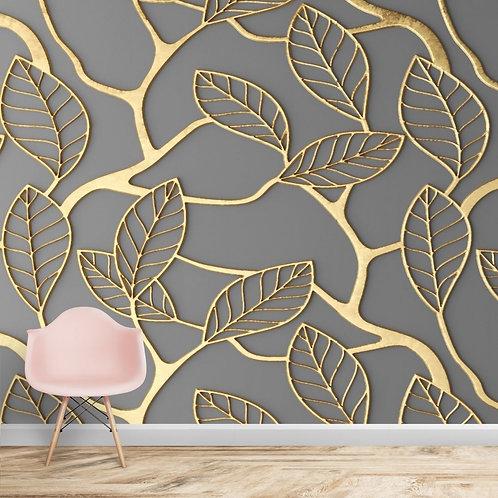 3D Golden Leaves on Dark Background Wallpaper