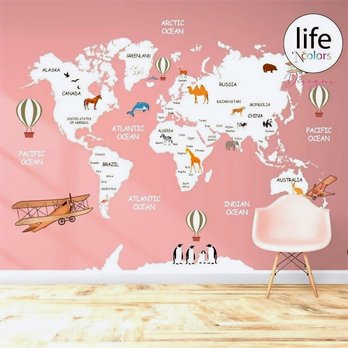 Pink worldmap for kids rooms