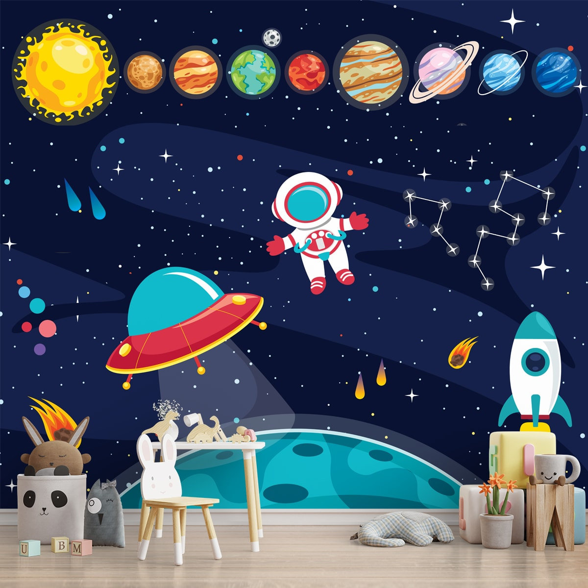 Solar System Space Theme Kids Room Wallpaper Customised Lifencolors