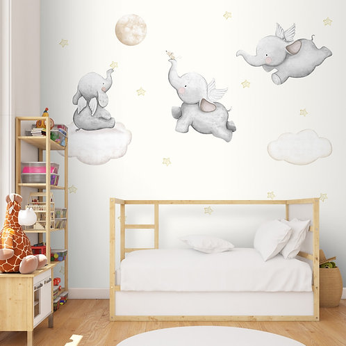Dreamy Elephant Design for Kids Room Nursery Wallpaper
