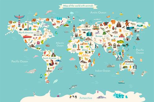 Unisex world map for kids room