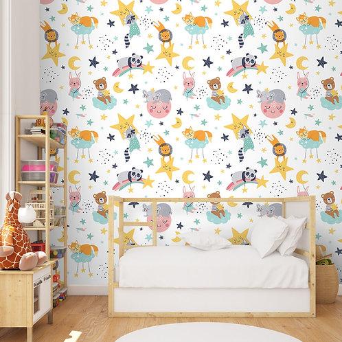 Cute Panda, Lion and Jungle Animals Nursery Room Wallpaper