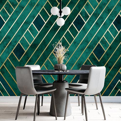 3D Green and Golden Geometric Panels Wallpaper