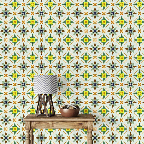 Mosaic Tiles Design Wallpapers for Beautiful Walls, Yellow