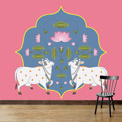 Cows and Lotus in Pichwai Style Wallpaper