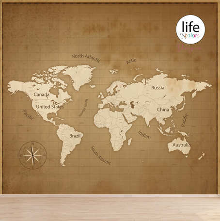 Vintage world map for wallpapers for walls