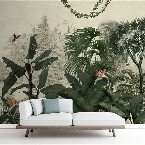 Tropical Theme Vintage Wallpaper for Walls, Customised