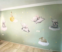 Nursery room flying elephants wallpaper, Life N Colors
