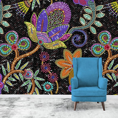 Rajasthani Dabka Embroidery Inspired Wallpaper Design, Customised